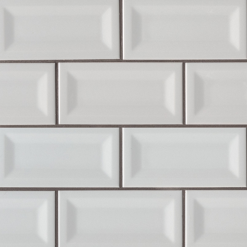 Gray Glossy Subway Tile Inverted Beveled Ceramic Wall Tile