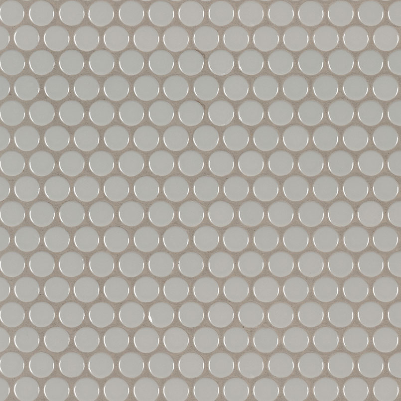 Gray Glossy Penny Round Mosaic Backsplash Tile