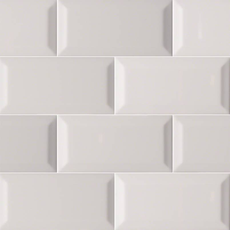 Gray Glossy Subway Tile Beveled 3x6