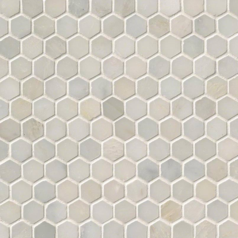 "Greecian White 1"" Hexagon Polished in a Mesh"