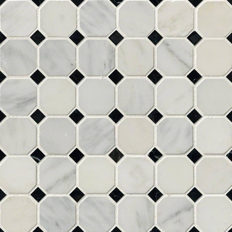 "Greecian White 2"" Octagon with Black 5/8x5/8 Polished in 12x12 Mesh"