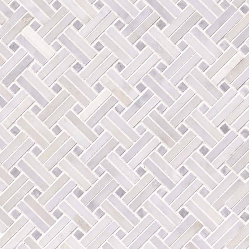 Greecian White Basketweave Pattern-2 Polished