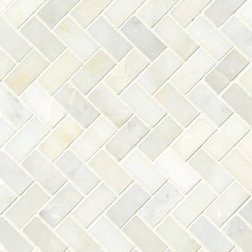 Greecian White Herringbone Pattern Marble Backsplash Tile
