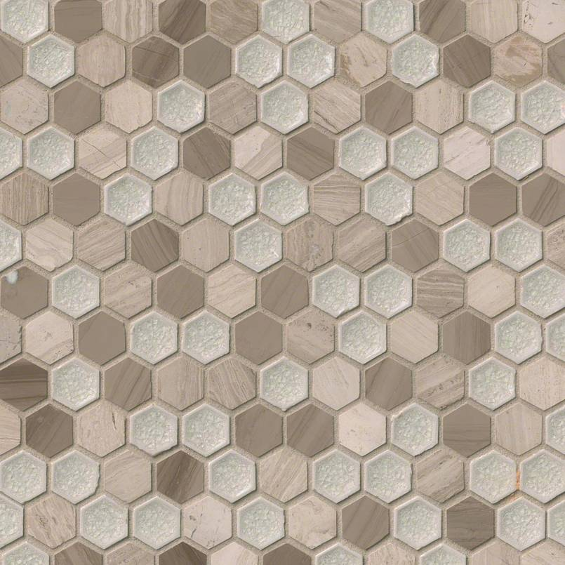"Hexham Blend 1"" Hexagon 8mm Decorative Mosaic Tile"