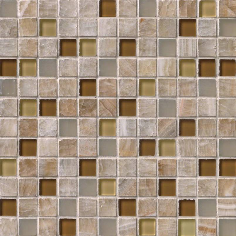 Honey Caramel Onyx Glass Stone Blend 1X1X8MM Decorative Mosaic Tile