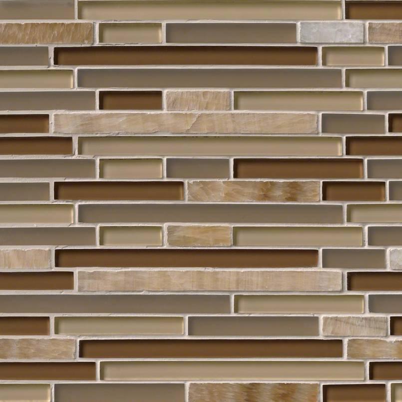 Honey Caramel Onyx Glass Stone Blend Interlocking Pattern 8MM Decorative Mosaic Tile