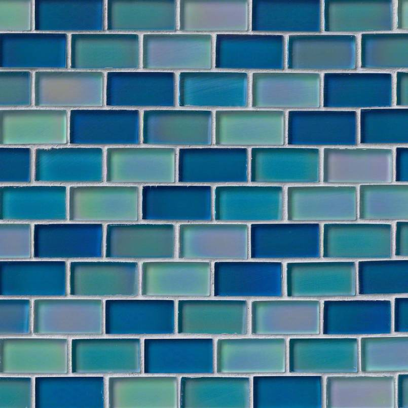 Iridescent Blue Blend Glass Brick Pattern Pool Tile Decorative Mosaic Tile