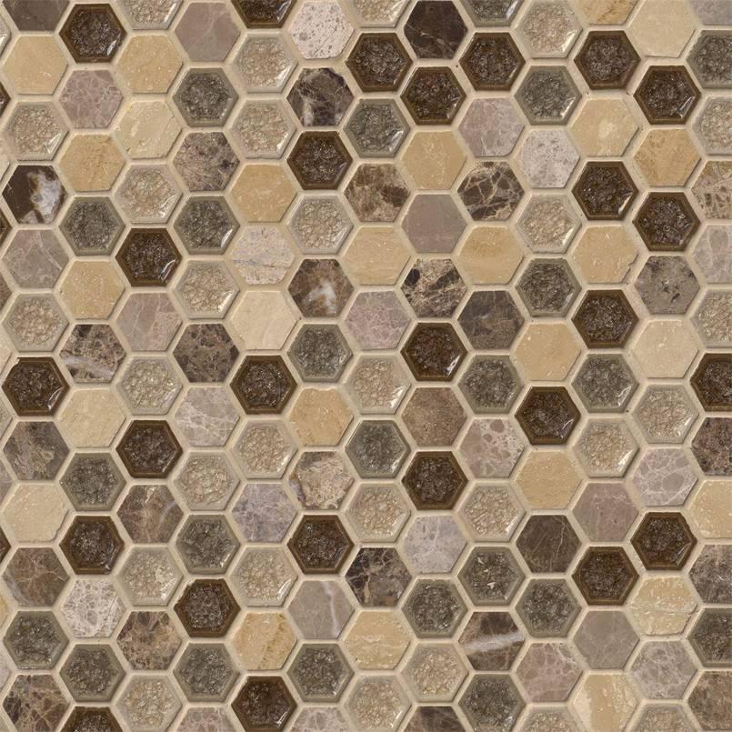 "Kensington 1"" Hexagon 8mm Decorative Mosaic Tile"