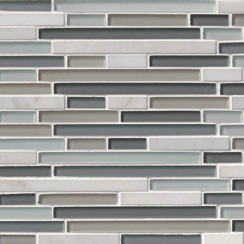 Keystone Blend Interlocking Glass And Stone Backsplash Tile