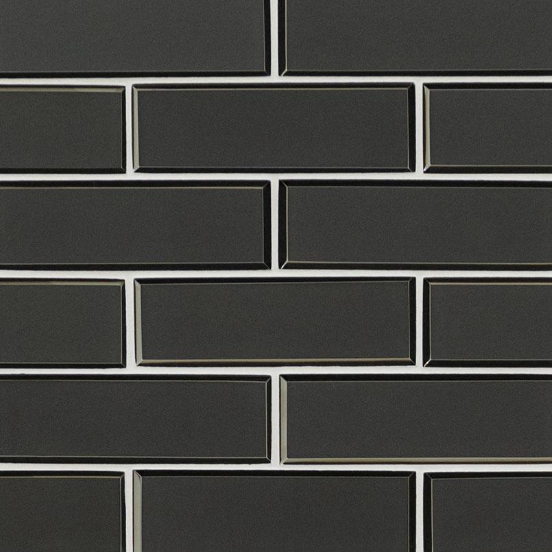 metallic gray bevel subway 8mm backsplash tile