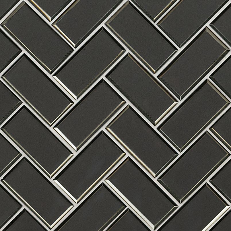 Metallic Gray Herringbone 8mm