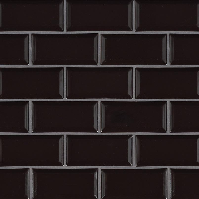 Midnight Black Subway 2x4 Beveled