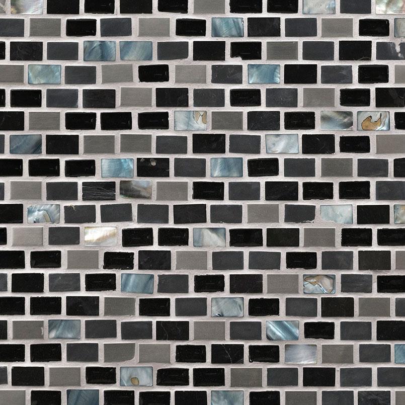 Midnight Pearl Mini Brick Pattern 8mm Decorative Mosaic Tile