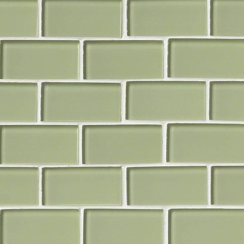 Mint Green Glass Subway Tile 2x4