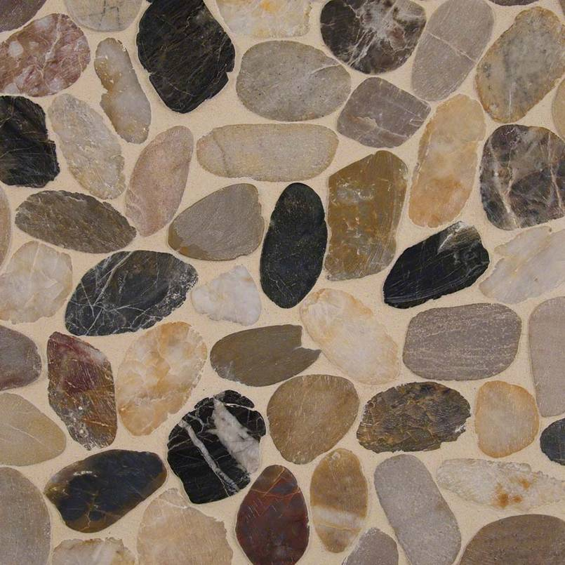 Mix River Pebbles Pattern 10mm Pebble Backsplash