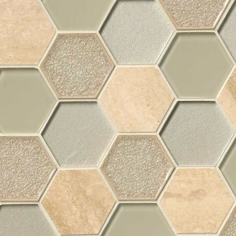 "Monterra Blend 3"" Hexagon 8mm Decorative Mosaic Tile"