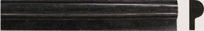 Premium Black 1x2x12 Polished Rail Molding