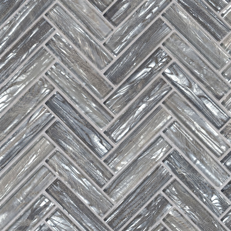 Modern Shopping Cart Logo: Shimmering Silver Herringbone 8mm Glass Mosaics