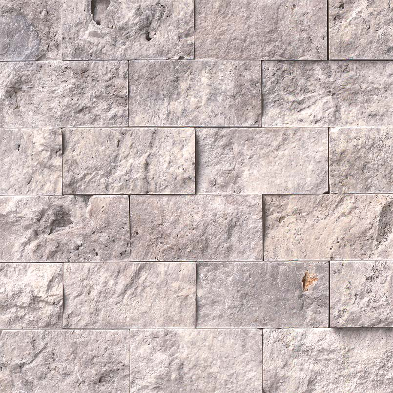 Silver Travertine 2x4 Split Face - Mosaics