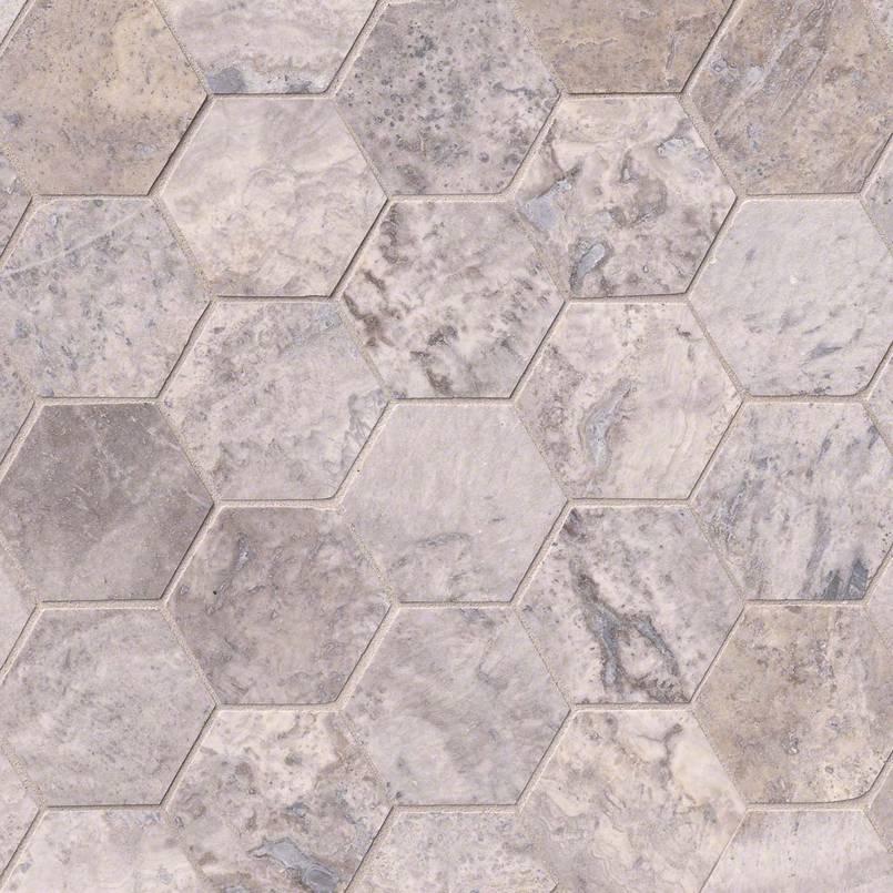 """Silver Travertine 3"""" Hexagon Honed"""