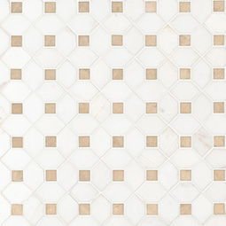 Bianco Dolomite Crema Dotty Polished geometric tile pattern Product Page