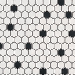 Black and White Hexagon Matte Backsplash Tile