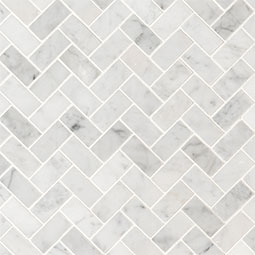 Carrara White 1x2 Herringbone Honed