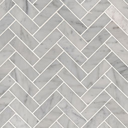 Carrara White 1x3 Herringbone Polished