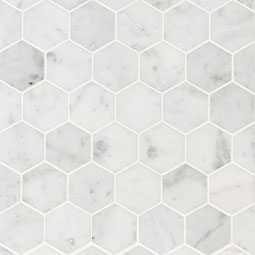 "Carrara White 2"" Hexagon Honed Product Page"