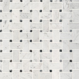 Carrara White Basketweave Pattern Honed