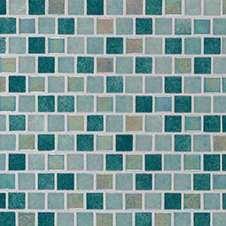 Carribean Jade 1x1x4mm Staggered  Glass Mosaic Tile