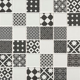 Checkorama 2x2x4mm Glass Mosaic Tile encaustic tile pattern