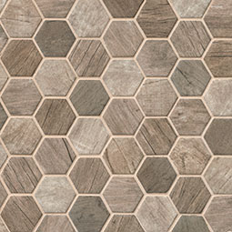 Driftwood Hexagon Mosaic Tile wood look wall tile