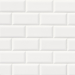 Bright White Subway Tile 2x4 Beveled