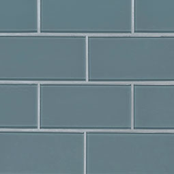 Harbor Gray Subway Tile 3x6x8mm Glass Backsplash Tile