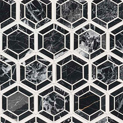Hexagono Nero Polished geometric tile pattern Product Page