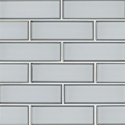 Ice Bevel Subway 2x6x8mm Glass Backsplash Tile