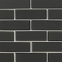 Metallic Gray Bevel Subway 8mm Glass Backsplash Tile