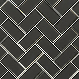 Metallic Gray Herringbone 8mm Glass Backsplash Tile