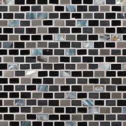Midnight Pearl Mini Brick Pattern 8mm Metal Tile