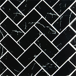Nero Marquina Glass 2x4 Herringbone