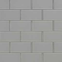 Oyster Gray Subway 2x4x8mm Glass Backsplash Tile