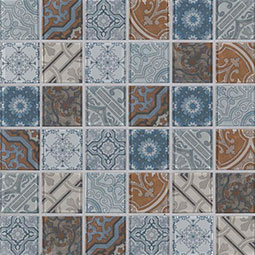 Pasadena 2x2x6mm Glass Backsplash Tile encaustic tile pattern