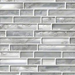 Silver Canvas Interlocking Pattern 8mm Glass Backsplash Tile