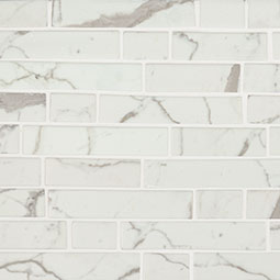 Statuario Celano Interlocking 6mm Glass Mosaic Tile