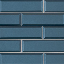 Tahiti Blue 2.5x8x8mm Beveled Glass Backsplash Tile