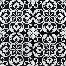 Tetris Florita Nero 6x6 encaustic tile pattern