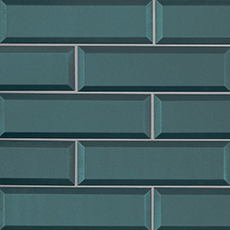 Verde Azul 2.5x8x8mm Beveled Glass Backsplash Tile