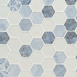 Vista Azul Hexagon 6mm encaustic tile pattern