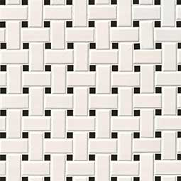 White and Black Matte Basketweave Mosaic Tile
